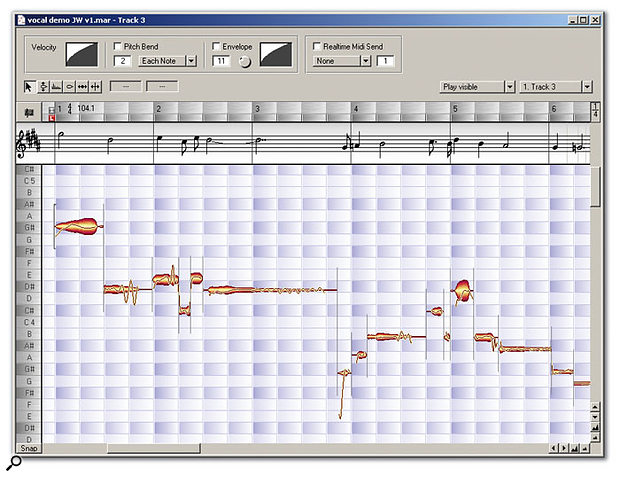 The Editor window with the Audio-to-MIDI and Notation displays switched on. Note the continuous pitch curve that passes through all the note 'blobs'.