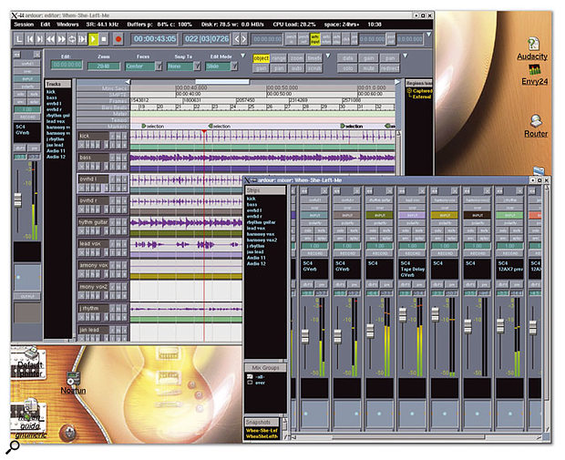 Ardour's editor and mixer. LADSPA effects are in use here, and the user can take a snapshot of the session at any time.