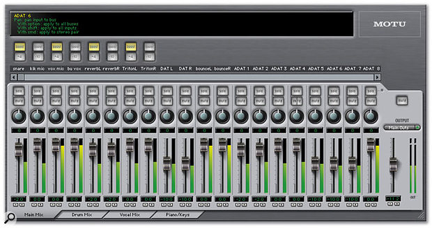 The Cuemix software is, in effect, a control panel for the 828 MkII's on-board DSP, which runs your mixer setups without imposing any load on the host CPU.