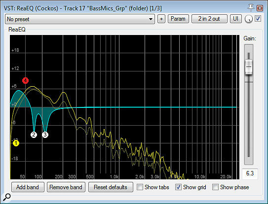 Here you can see the EQ applied to the upright bass to troubleshoot two different low-frequency problems: two notches to target unwanted acoustic resonances; and a  combination of 50Hz shelving boost and 30Hz high-pass filtering to selectively support the root of the song's key chord.
