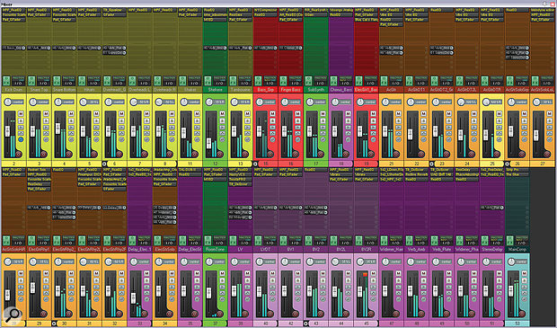 This Cockos Reaper mix window shows all the processing used on this month's Mix Rescue remix.