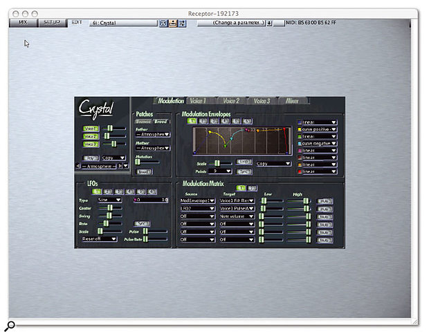 The third page offered by the Receptor Remote Control application provides graphical editing of virtual instruments and effects. Here, Crystal is being edited once again, this time in its own skin.