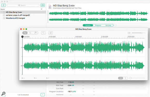 The Waveform window comes into its own when a detailed focus on the audio is needed.