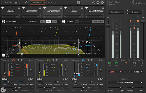 iZotope Neutron's main interface, showing the five reorderable modules at the top, the controls for Compressor 2 in the central editing pane, and on the right-hand side the Limiter with the Neutrino spectral-shaping controls below it.
