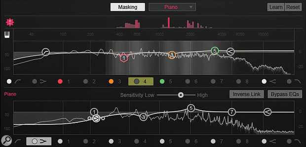 Neutron's new Masking Meter in action on an electric guitar track, showing how a piano track elsewhere in the mix is competing with it in the frequency domain. The red Histogram display across the top keeps a tally of the number of frequency collisions within a  user-definable time window, while the bleaching out of the guitar's spectrum display below it indicates the amount of masking going on in real time. The lower spectrum display and EQ curve belong to the piano track, allowing you to conveniently tweak the equalisation on both channels from a single plug-in window.