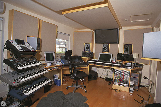 Nitin Sawhney's Spirit Dance Studio. Logic and Pro Tools running on G4 Apple Macs are used for recording, while a Dynaudio AIR system handles surround monitoring.