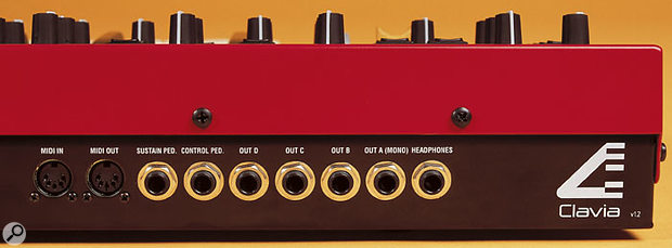 The rear panel is almost identical to that of the original Nord Lead 2, with individual audio outs for each of the synth's four 'slots', sustain and expression pedal inputs, and a headphone socket. Shame there's still no MIDI Thru, though.