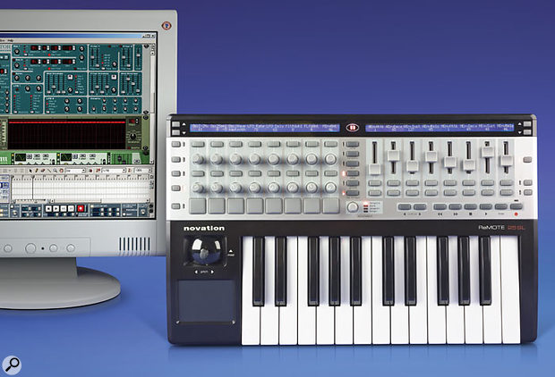 The Remote 25SL working with a Subtractor synth in Propellerhead's Reason. Many of the most useful parameters have already mapped themselves to the 25SL. The Remote has recognised that the sawtooth wave has been selected for Oscillator 1, and the triangle wave for LFO1 (note the 'Osc1WaveSaw' and 'LFO1WaveTri' legends in its left display, amongst other parameters). Similarly, the Remote has recognised the overall song tempo and left and right loop points (the latter can just be seen on the transport bar at the bottom of the window), and the SL is displaying these on its right-hand LCD.