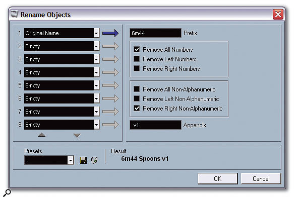 The Rename Objects window allows you to batch rename tracks, Parts, Event Descriptions and file names based on certain conditions.