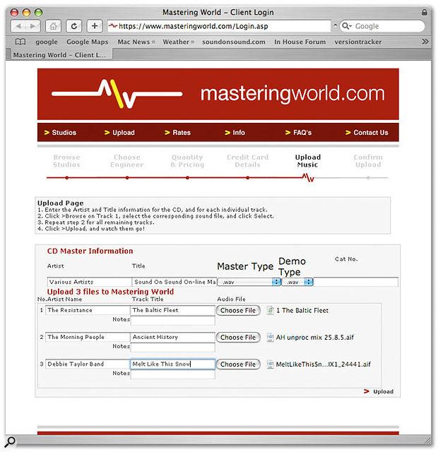 Preparing to upload tracks to the Mastering World server.