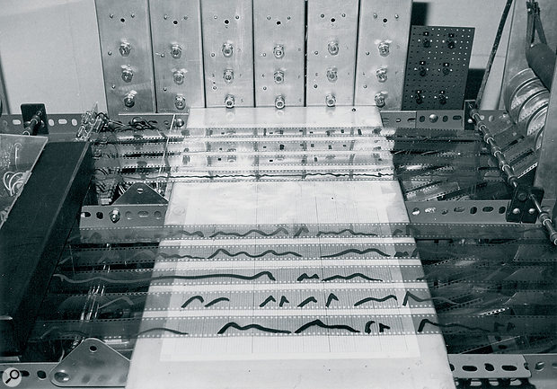 The Oramics machine was developed on avery tight budget and required some ingenious lateral thinking on Graham Wrench's part — such as scraping the paint off transistors to make them into light‑sensitive photo-transistors.