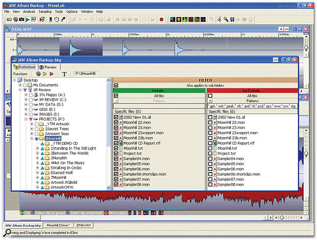 If your audio application provides archiving functions, like Wavelab's Backup Plan, shown here, you can quickly organise a project backup scheme that includes or excludes specific file types.