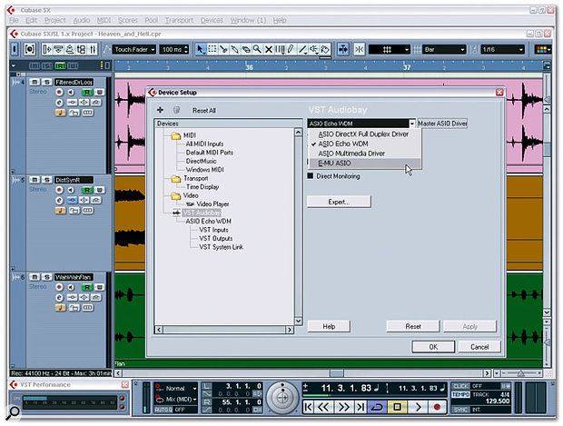 Your particular MIDI + Audio application (this screenshot shows Cubase SX 3) may support various audio-interface driver formats. The preferred options, if you have a choice, are ASIO, WDM, DirectX and MME, in that order.