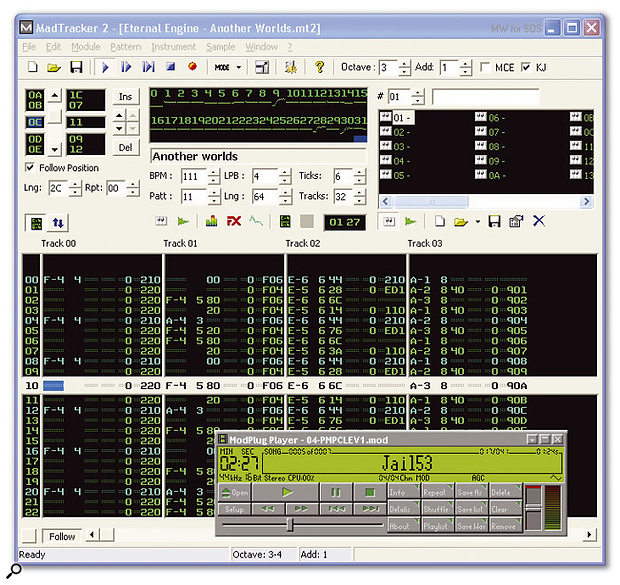With thousands of original sample-based songs already available for free download, easy-to-use editors such as MadTracker 2, shown here, or simpler playback-only applications like the ModPlug Player (lower right), the tracker format is still popular with lots of musicians.