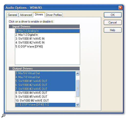 With Sonar's WDM/KS driver option, you can run several completely different drivers side by side, as shown here.