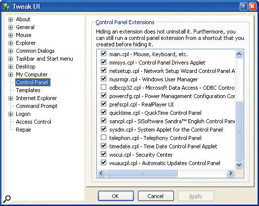 If you have leftover Control Panel entries relating to old hardware, you can use TweakUI to locate the files involved and then delete them by hand.