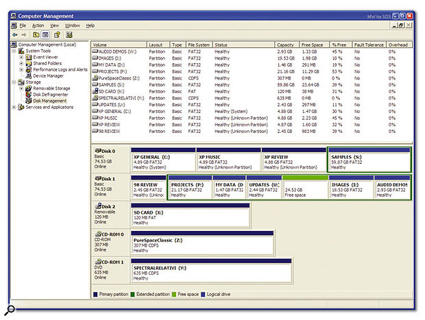 Windows' own Disk Management utility is very handy for basic partitioning, and for viewing the current arrangement of partitions from the outermost (left-hand) to innermost (right-hand) positions across the surface of your hard drives.