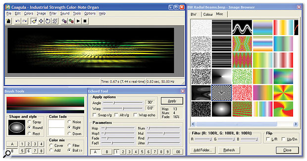 Creating sounds from images may generate some fresh inspiration, using utilities such as Coagula.