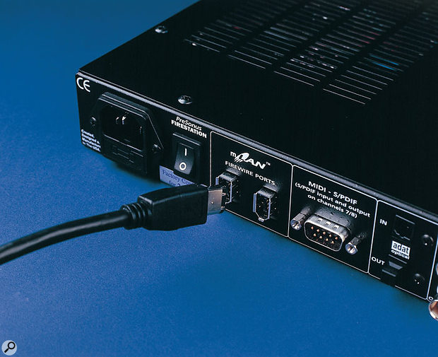 Most Firewire audio interfaces, like the Presonus Firestation shown here, provide a second Firewire port for daisy-chaining further devices, but not all manufacturers are agreed on whether this is a good idea.
