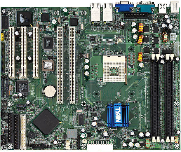 This Tomcat i7210 motherboard from Tyan illustrates the difference between 32-bit, 33MHz PCI slots with 5V spacers (top left) and the larger 64-bit, 66MHz PCI-X slots with their 3.3V spacers (adjacent). Universal cards could be installed into either. Many other soundcards would only fit in the 32-bit slots.