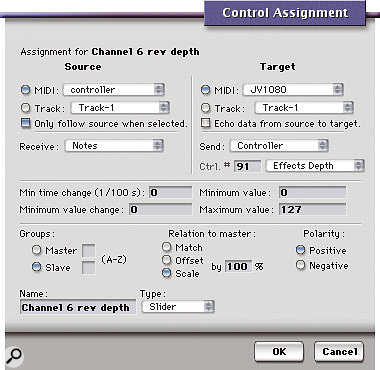 This Control Assignment dialogue box configures a Console slider to send MIDI continuous controller 91 data to a JV1080.