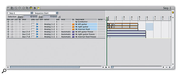 After the freeze, your original tracks remain in place. If you need to revisit them to make an edit or tweak their plug-in settings, just select any part of them and hit shift-control-Apple-F to 'unfreeze' them.