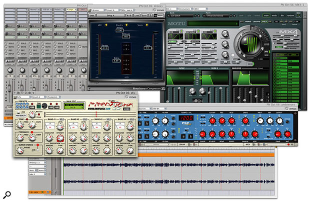 DP running on a Power PC-based Mac still provides the most extensive support for third party applications and plug-ins. For example, neither the PSP plug-in nor MOTU's own MX4 synth, shown here, are yet available in Intel-compatible versions. There's some uncertainty over the extensive range of Waves plug-ins too, although many developers, such as Ohmforce, have already made available Universal Binary plug-ins that are equally compatible with both the Power PC and Intel platforms.