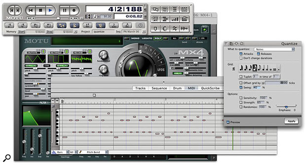 A typical job for quantisation. The note attacks and releases of a repetitive synth part, played on MX4, are about to be snapped into strict time using the settings in the Quantize window. The Preview option, bottom left of the window, lets to hear the results before you commit to them.