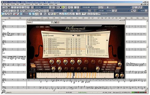 Miroslav Philharmonik running in Cakewalk Sonar 5 Producer Edition. Note the keyboard display showing off key split zones.