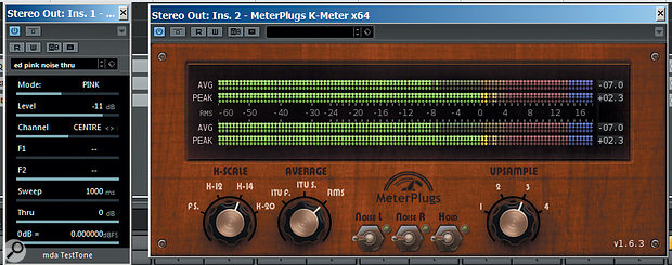 If your DAW doesn't feature a  K or other RMS-type meter, you can place an insert plug-in on the master bus. Pictured here is Meterplugs' K-Meter, which is perfect for the job.