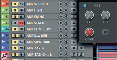 Soloing each track in turn, you use the channel gain trim (or gain plug-in if your DAW doesn't have one) rather than the fader — which you'll want later for automation — to balance the track against the pink noise.
