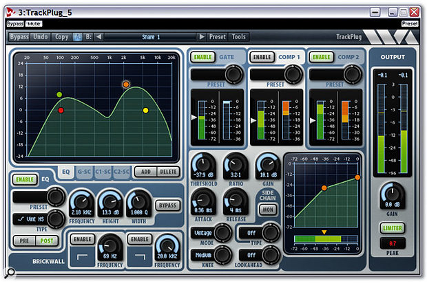 One of the Suite's five plug-ins: Trackplug combines a clean and versatile 10-band EQ with a comprehensive compressor and gate, and is already very popular around the world for its low CPU overhead.