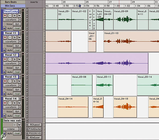 One approach to vocal comping is to have each take on a separate track, with an extra track (top) for the chosen parts. All these tracks are then routed to an Aux track (bottom) with the necessary compression, EQ and so on.