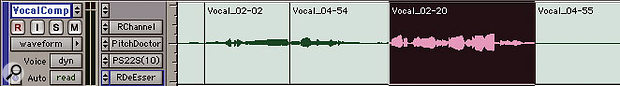 An alternative approach is to use multiple Playlists within a single track, which takes up less space in the Edit window and means your processing can be kept on the track itself, rather than an Aux. Pro Tools automatically names the regions to show which take they have come from — in this case, the selected region has been copied from take two (centre) and pasted into the Vocal Comp Playlist (bottom).