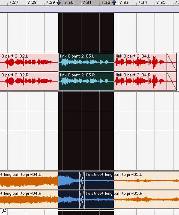 Shuffle editing across an entire Session can be a useful way of reordering the structure of a multitrack project.