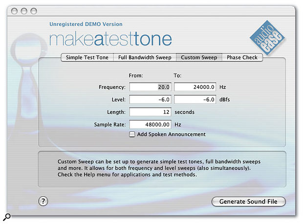 Audio Ease's Make A Test Tone is a Mac OS X utility that can generate test tones for many situations, including sine sweeps and signals to help you check the phase of your speakers.