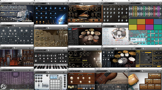 Twenty of the 24 Magix instruments that come with Samplitude Pro X3 Suite.