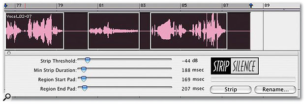 Using the Strip Silence feature in Pro Tools to 'clean up' a vocal take. Here, the default settings divide my vocal region into three...