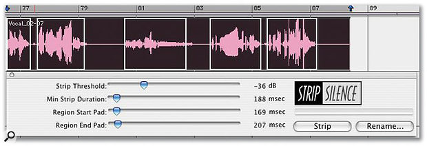 ...increasing the Threshold value to -36dB causes more areas to be detected as silence, including some wanted audio.