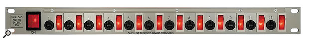 It's fine to switch on gear from a mains switch, but some things are better switched on in a certain sequence. Thus, power distribution systems with front-panel switches — such as the Bryant one pictured — can be really handy.