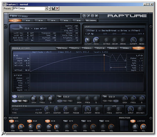 The main Rapture screen. Tabs bring up the next Element or the Global page, while a simple mixer runs along the bottom.