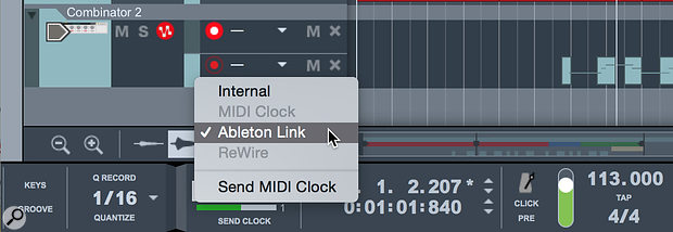 Screen 1. To join or start a  Link session, simply switch your Sync Mode to Ableton Link.