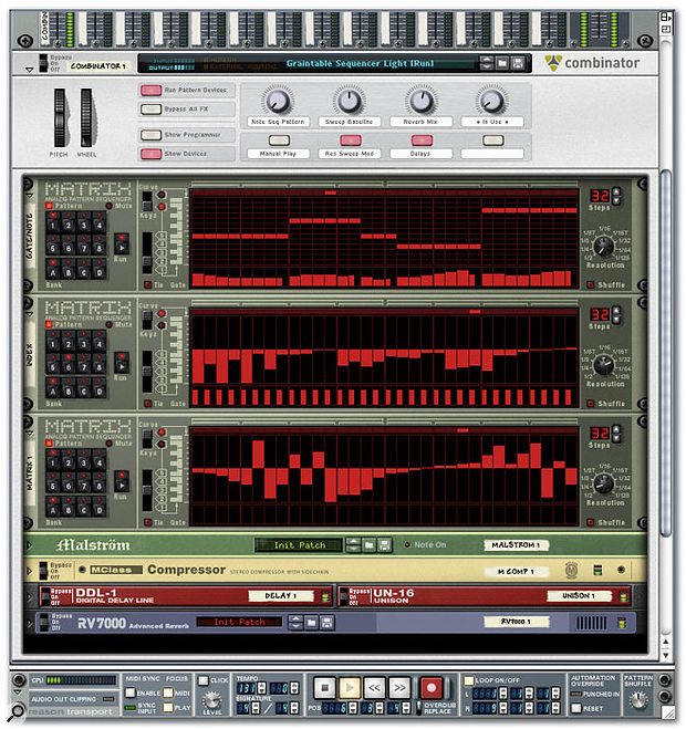Because the Combinator lets you combine all device types, you can even work Matrix pattern sequencing neatly into patches. The 'Graintable Sequencer Light' patch from the Reason Factory Sound Bank, designed to emulate how certain Reaktor Library patches work, is an example.