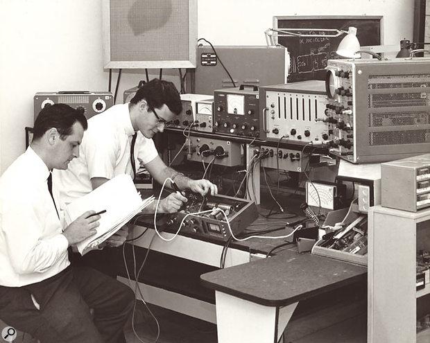 Bench-testing new equipment in the Universal Audio laboratory.