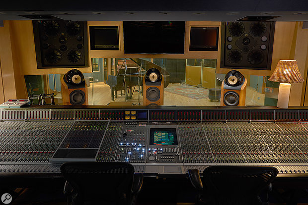 The control room at Abbey Road Studio 3 is equipped with an 11.1 surround monitoring system that includes four ceiling-mounted speakers.