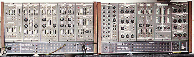 A selection of System 100M modules, seen in the synth collection of the boss of Mute Records, Daniel Miller, in 1998. And yes... he's still the boss!
