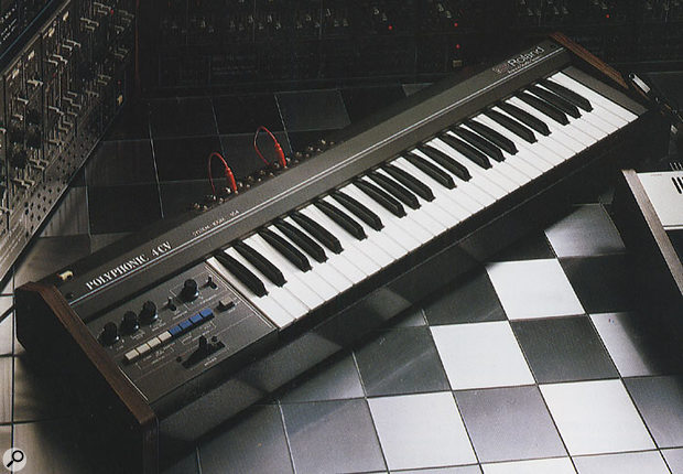 A complete System 100M setup (shown above), as seen in a contemporary brochure, with the 184 controller keyboard at the heart of the system.