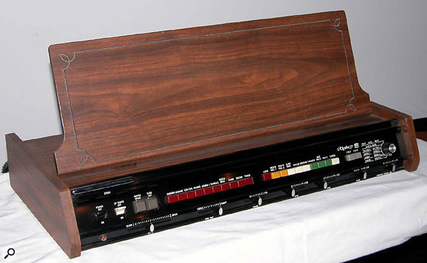 The first Roland product, the TR77 rhythm box.