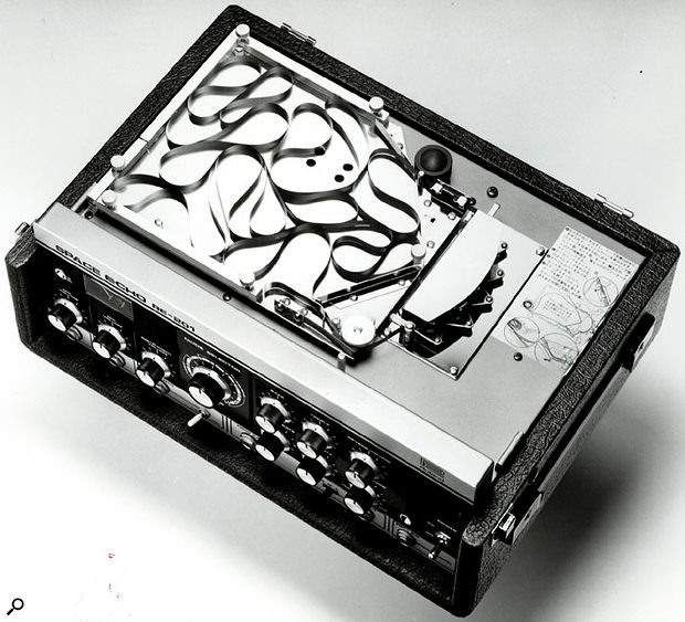 The heart of an echo — an RE201 seen from above with the cover removed, revealing the tape and associated control circuitry.
