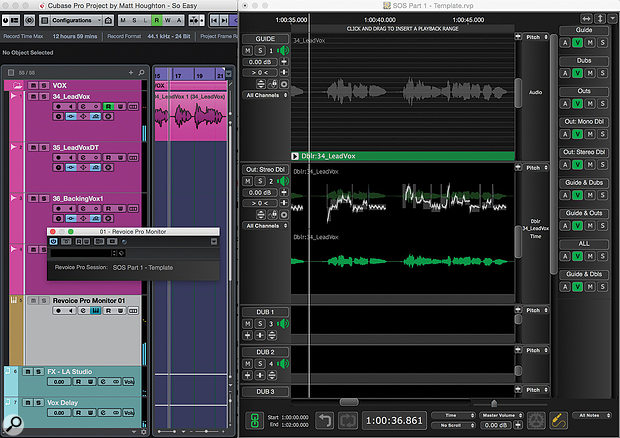 Here, Revoice Pro is sync'ed to Cubase via the unassuming-looking Revoice Pro Monitor plug-in, which acts as both a  transport link and a  virtual instrument, playing RP's stereo mix on the brown/grey channel.